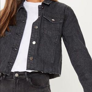 Gray cropped denim jacket